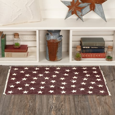 """VHC Brands Americana Woven Machine Stitched Antique Red Star Rectangle Rug 36""""L x 60""""W"""