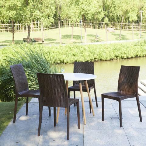 Roshe Brown Polypropylene Outdoor Weaved Side Chair