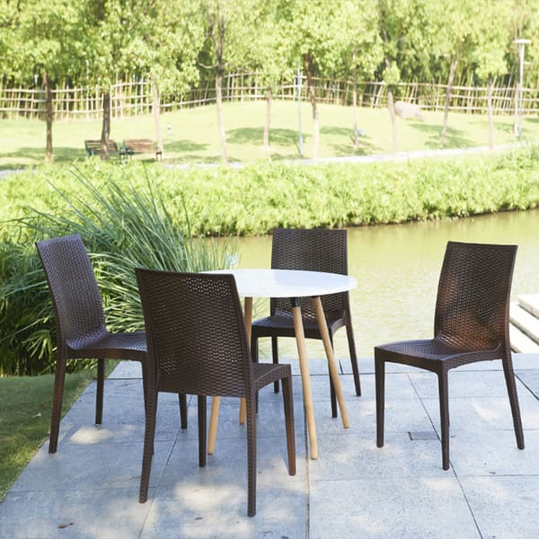 Fantastic Roshe Brown Polypropylene Outdoor Weaved Side Chair Gmtry Best Dining Table And Chair Ideas Images Gmtryco