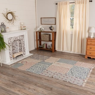 White Farmhouse Flooring VHC Millie Rug Cotton Floral - Flower Reverse Seams - 8' x 11'