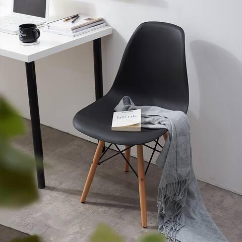 Melmet Black Polypropylene Scoop Shell Side Chair (Set of 2)