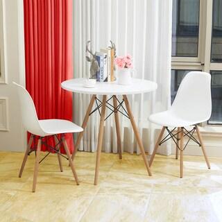 Melmet White Polypropylene Scoop Shell Side Chair (Set of 2)