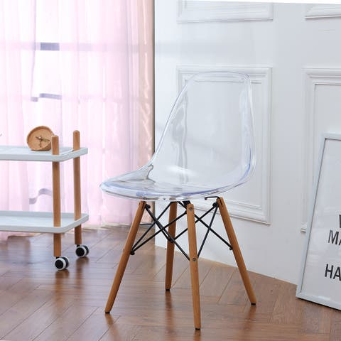 Diekyl Clear Acrylic Scoop Shell Side Chair (Set of 2)