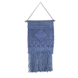 Marmont Hill - Handmade Blue Diamond Macrame Wall Hanging
