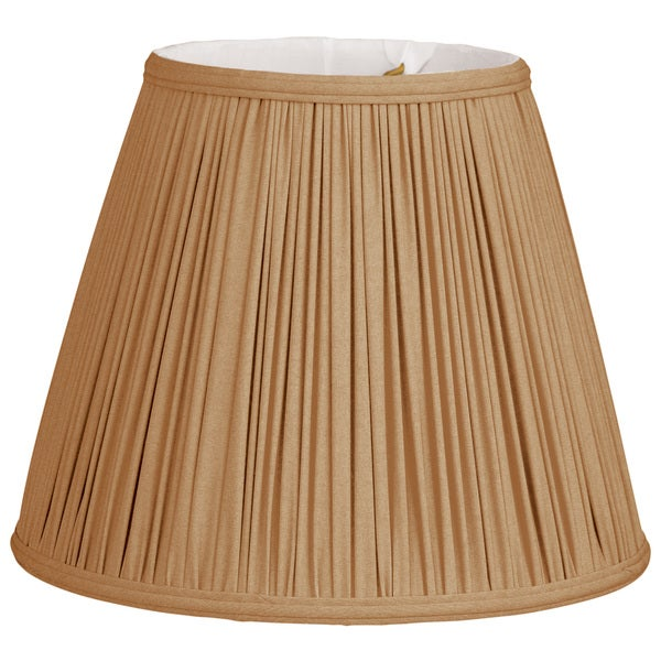 Royal Designs Deep Empire Gather Pleat Basic Lamp Shade, Antique Gold, 8 x 14 x 11