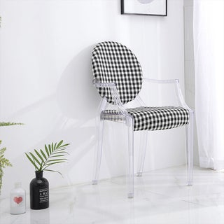 Tamik Acrylic Arm Chair Padded Cloth Black White Checker Dining (Set of 2)