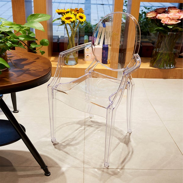 Delightful Warehouse Of Tiffany Tamik Clear Dining Arm Chair (Set Of 2)