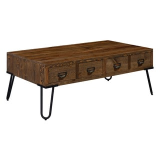 Serta Bryant Brown Wood Top Metal Legs 4-drawer Coffee Table