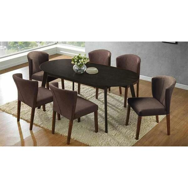 Shop Mario Piece Dark Brown Wood Oval Dining Table And Brown - Oval dining table seats 6