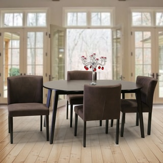 Mario 5 Piece Dark Brown Wood 59 Inch Oval Dining Table And 4 Brown