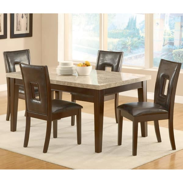 Cindy Dark Brown Pu Leather Dining Chair Set Of 2 Overstock 19446517