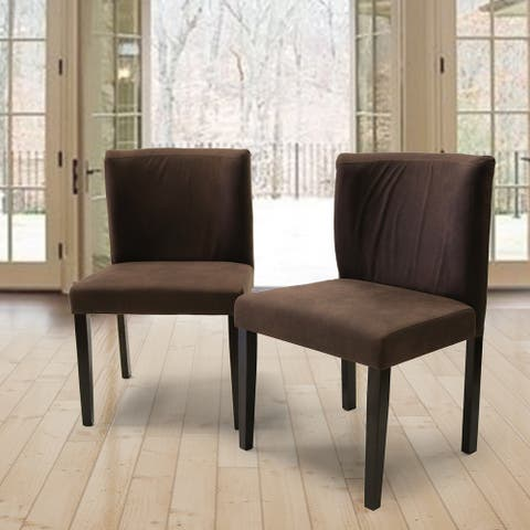 Mario Curved Back Brown Fabric Dining Chair (Set of 2)