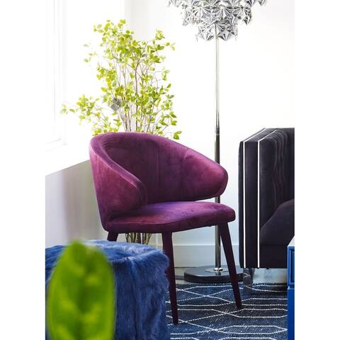 Aurelle Home Purple Velvet Contemporary Modern Dining Chair