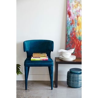 Aurelle Home Blue Velvet Modern Dining Chair