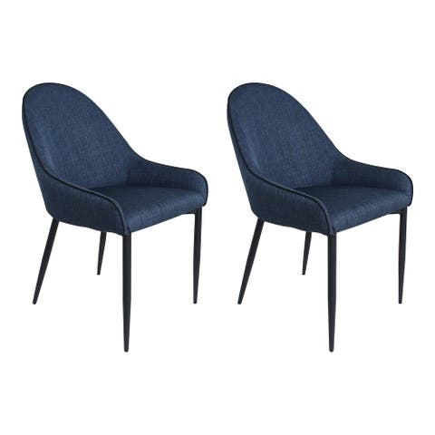 Aurelle Home Blue Modern Dining Chair (Set of 2)