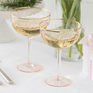 Cathys Concepts Love 8 oz. Blush Rose Gilded Rim Coupe Flutes