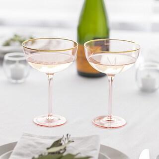 Personalized 8 oz. Blush Rose Gilded Rim Coupe Flutes