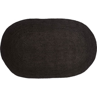"Black Primitive Flooring VHC Black Jute Rug Jute Solid Color Oval - 2'3"" x 4'"