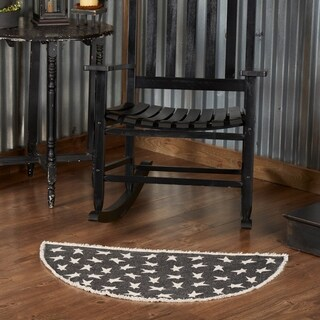 "Black Primitive Star Rug - 1'8"" x 2'6"""