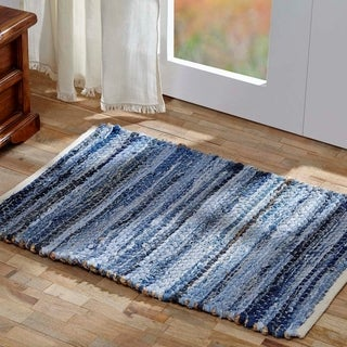 "Denim & Hemp Chindi/Rag Rug - 1'8"" x 2'6"""