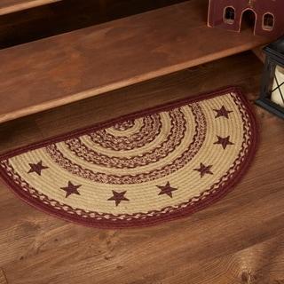 "Red Primitive Flooring VHC Burgundy Tan Jute Star Rug Jute Stenciled Half Circle - 1'4.5"" x 2'9"""