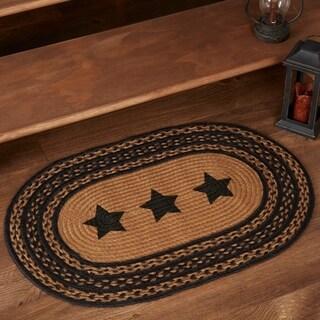 "Black Primitive Flooring VHC Farmhouse Stars Rug Jute Star Stenciled - 2'3"" x 4'"