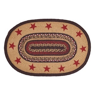 "Tan Primitive Flooring VHC Landon Stars Rug Jute Star Stenciled Oval - 2'3"" x 4'"