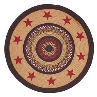 Tan Primitive Flooring VHC Landon Stars Rug Jute Star Stenciled Round - 3' x 3'