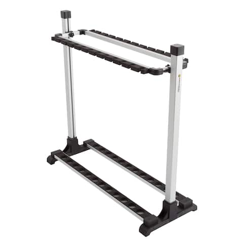 Fishing Rod Rack- Aluminum Freestanding Floor Storage, Organizer Stand for Home or Garage, Fits 24 Rods by Wakeman Outdoors