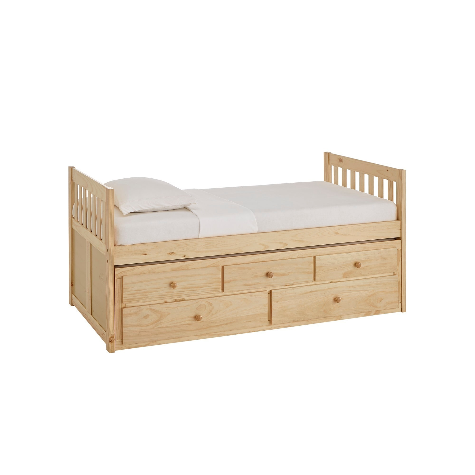 Hunter Twin Natural Wood Captains Bed With Trundle By Inspire Q Junior Overstock 19447175