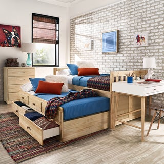 Hunter Twin Natural Wood Captains Bed with Trundle by iNSPIRE Q Junior