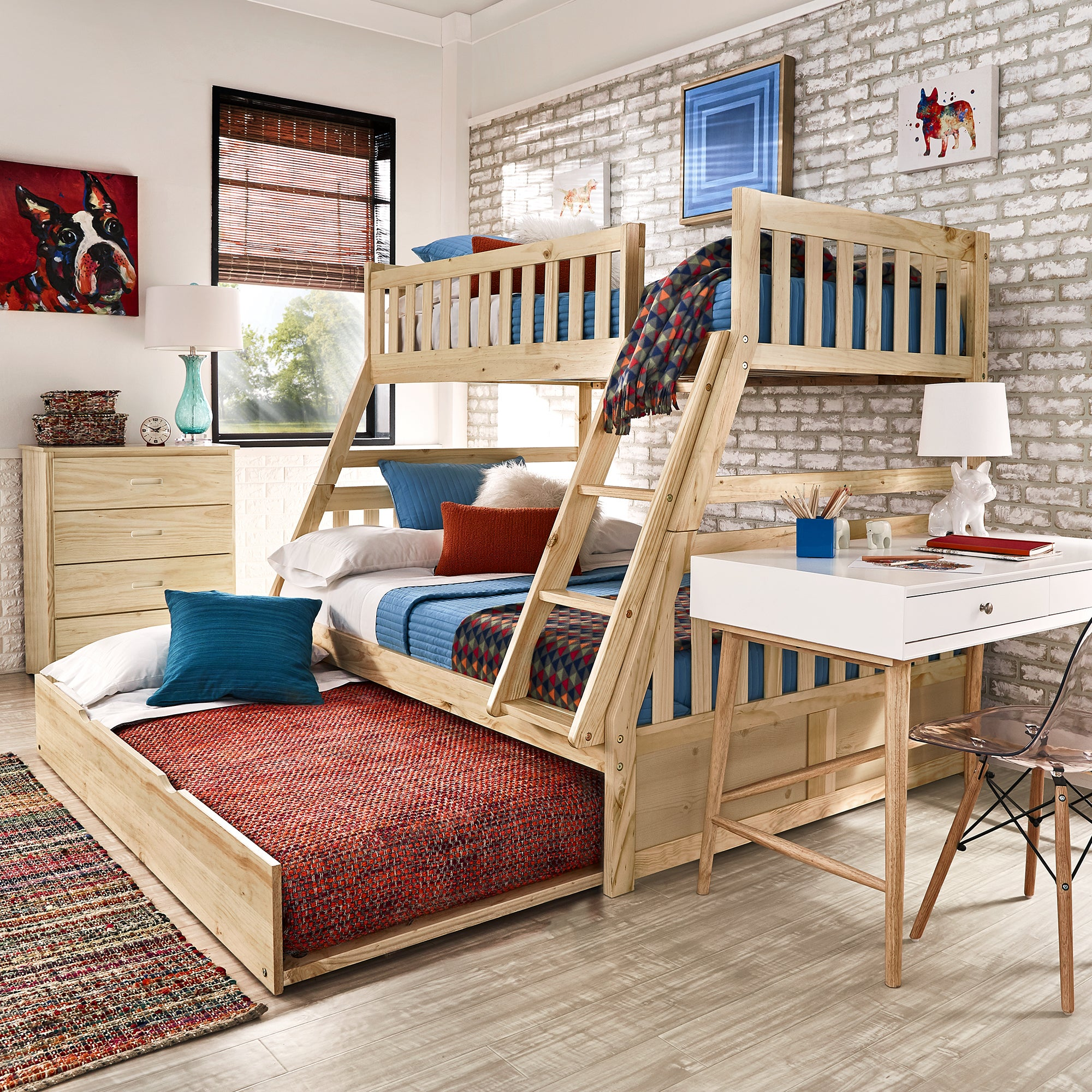 Hunter Twin over Full Natural Wood Bunk Bed by iNSPIRE Q Junior