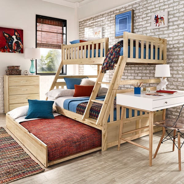 hunter twin over full natural wood bunk bed by inspire q junior free shipping today. Black Bedroom Furniture Sets. Home Design Ideas