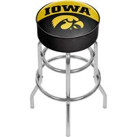 University of Iowa Chrome Bar Stool with Swivel - Logo