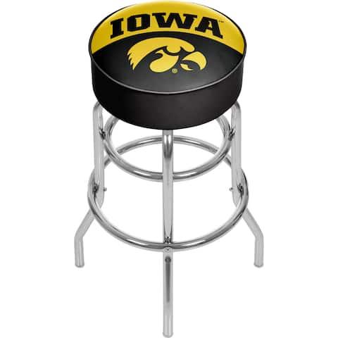 University of Iowa Chrome Bar Stool with Swivel - Logo
