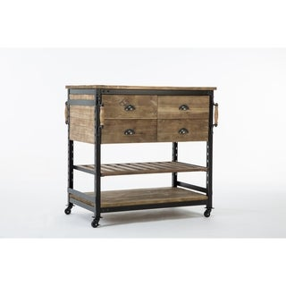 Industrial Hampton Whitewashed Grey Wood Metal Kitchen Island
