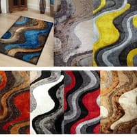 Hand Tufted Shag Area Rugs Made with Polyester Pile 2-Inch Thick - 5' x 7'