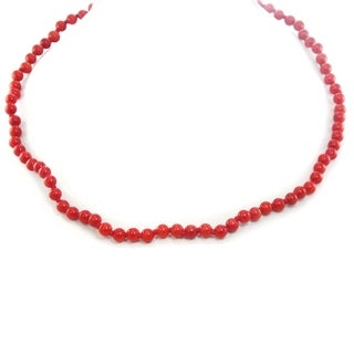 Michael Valitutti Palladium Silver Red Coral Bead Toggle Necklace
