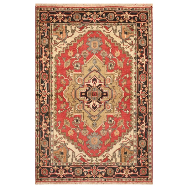 Handmade Herat Oriental Indo Hand-Knotted Heriz Wool Rug - 4' x 6' (India)