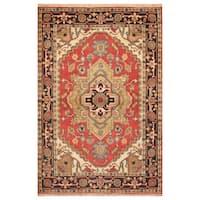 Handmade Herat Oriental Indo Hand-Knotted Heriz Wool Rug (4' x 6') - 4' x 6'