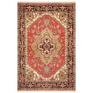 Handmade Herat Oriental Indo Hand-Knotted Heriz Wool Rug (4' x 6')
