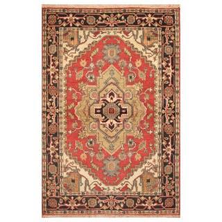 Handmade Herat Oriental Indo Hand-Knotted Heriz Wool Rug (India) - 4' x 6'