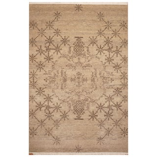 Handmade Herat Oriental Indo Hand-Knotted Tibetan Wool Rug (4' x 6')