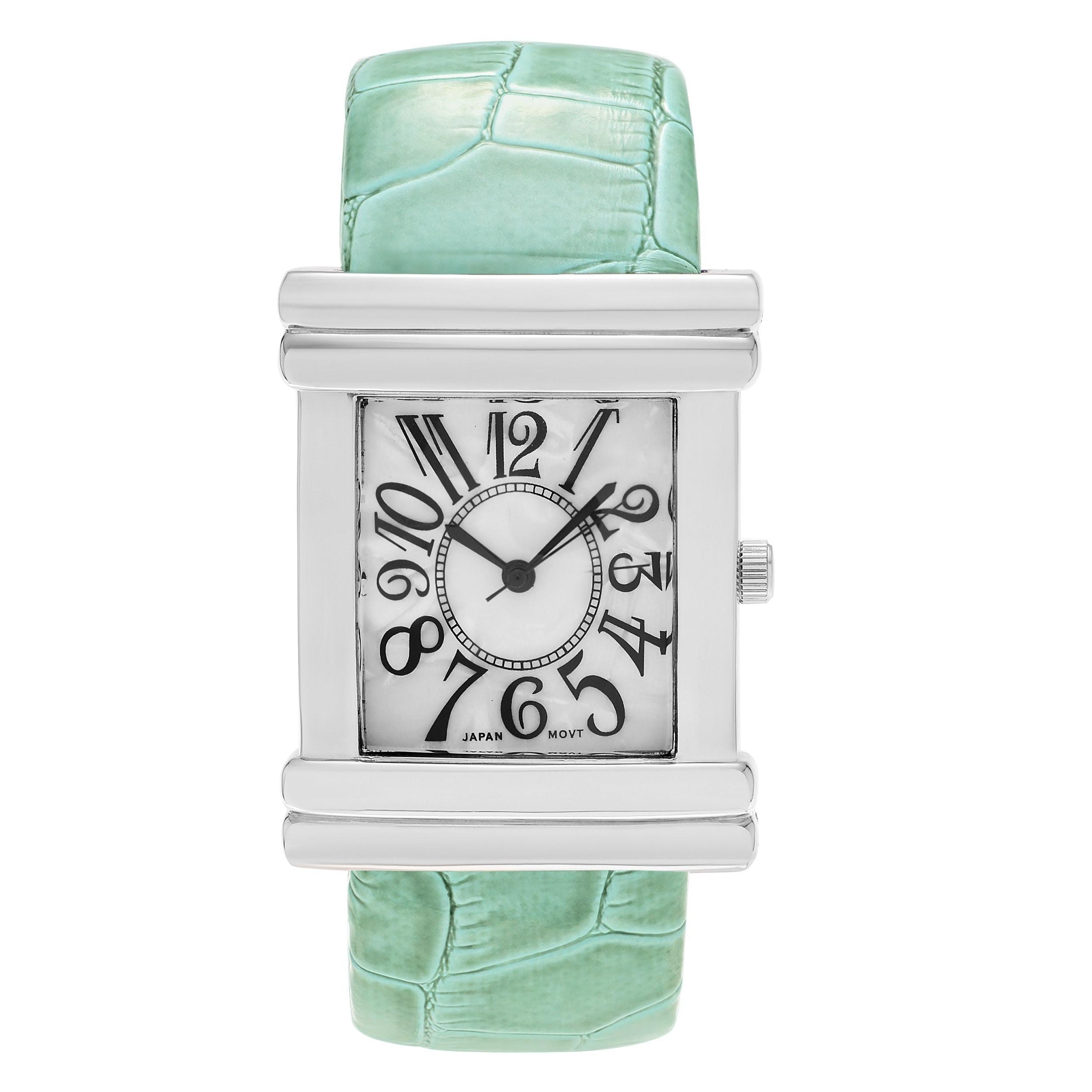 Geneva Women's Platinum Croc Skin Stamped Antique Watch (...
