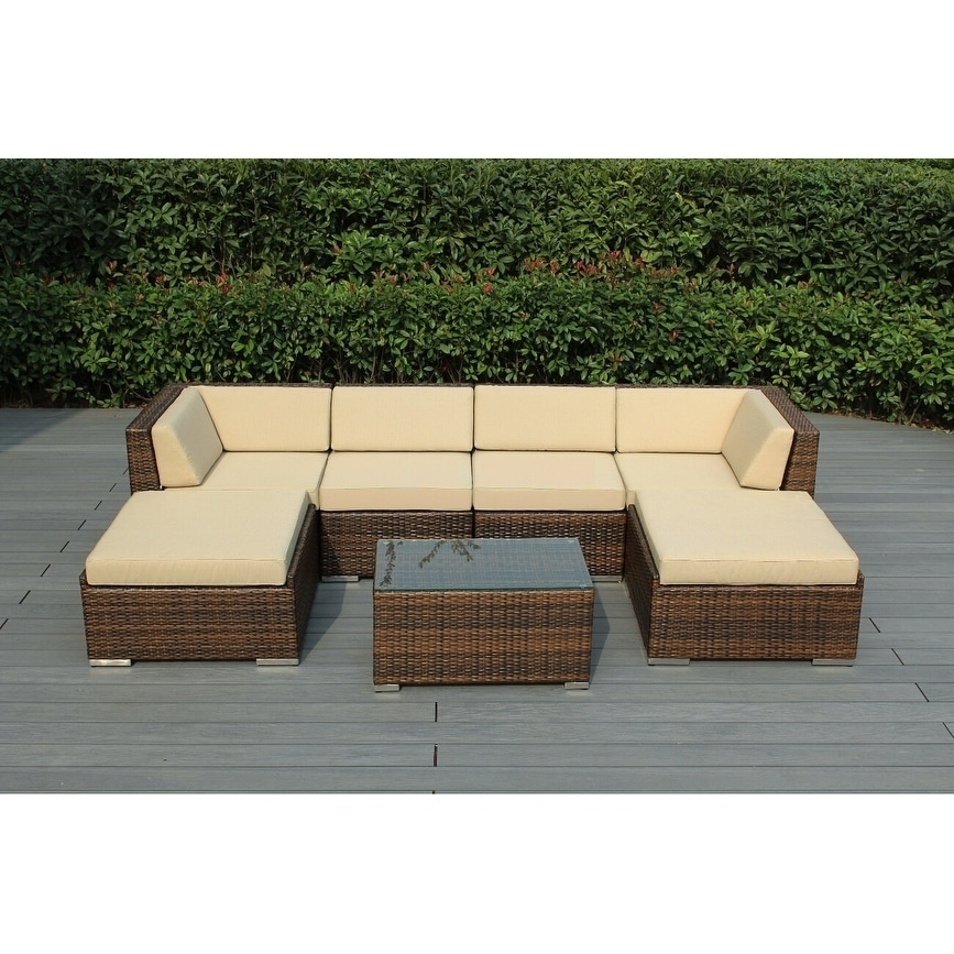 Ohana Outdoor Patio 7 Piece Mixed Brown Wicker Conversation Set With Cushions Overstock 19447840