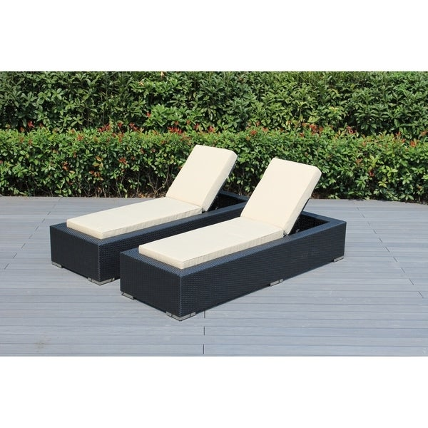 Shop Ohana Outdoor Patio 2 Piece Black Wicker Chaise