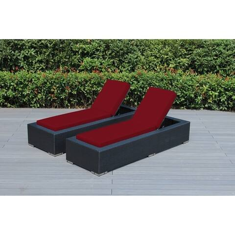 Ohana Outdoor Patio 2 Piece Black Wicker Chaise Lounge Set with Cushions