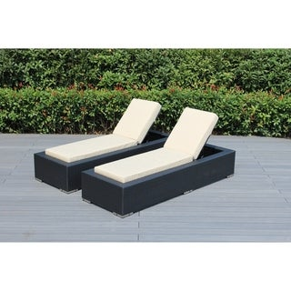 Ohana Black Resin Wicker Outdoor Patio 2-piece Chaise Lounge Set With Cushions