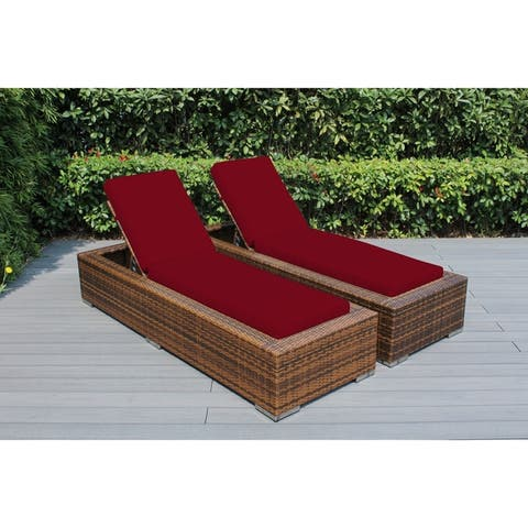 Ohana Outdoor Patio 2 Piece Mixed Brown Wicker Chaise Lounge Set with Cushions