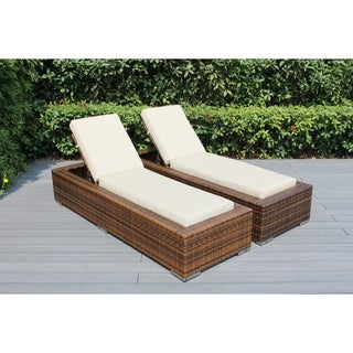 Ohana Brown Wicker Outdoor Patio 2-piece Chaise Lounge Set with Cushions